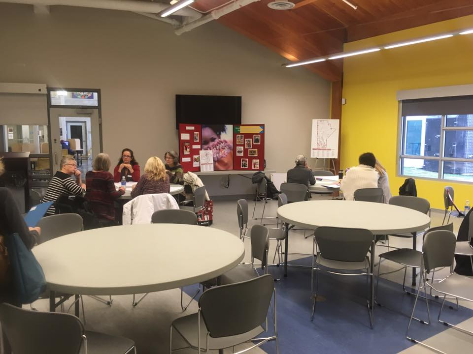"""Folks attending this session at our Share and Build Workshop are recording their challenges and """"best"""" practices in delivering school food programs."""